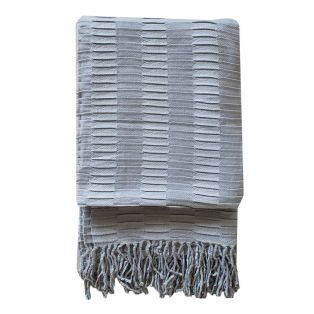 Delia Pleat Textured Throw in Silver