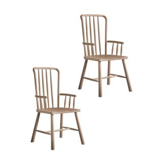 Rebecca Oak Dining Chair with Arms - Set of Two