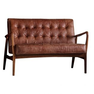 Brad Two-Seater Leather Sofa in Vintage Brown