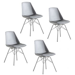 Astrid Dining Chair in Light Grey, Set of four