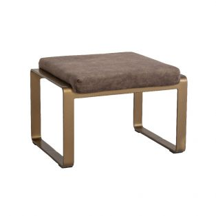 Spencer Faux Suede Footstool in Taupe