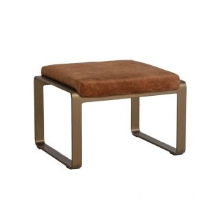 Spencer Faux Suede Footstool in Tan