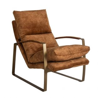 Spencer Faux Suede Lounge Chair in Tan