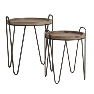 Marvin Fir Wood Hairpin Set of Nesting Tables
