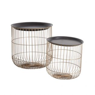 Lila Round Cage Side Tables, Set of Two