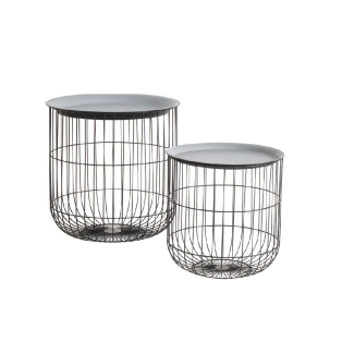 Lila Round Cage Side Tables in Black, Set of Two