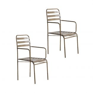 Thelma Bistro Metal Armchair in Bronze, Pack of Two