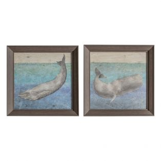 Whale Watching Framed Wall Art, Set of Two
