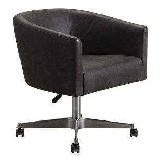 Pendeen Grey Leather Swivel Chair